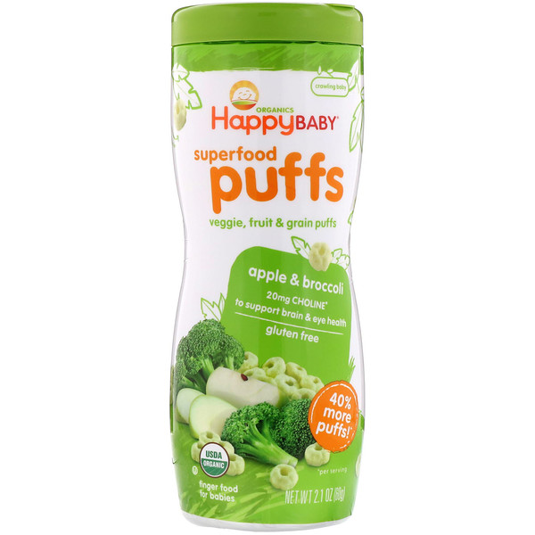 Happy Family Organics, Superfood Puffs  Veggie, Fruit & Grain, Apple & Broccoli, 2.1 oz (60 g)