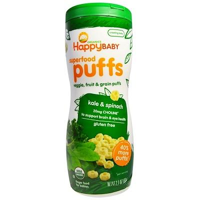 Фото - Superfood Puffs, Veggie, Fruit & Grain, Kale & Spinach (овощи, фрукты и злаки, кудрявая капуста и шпинат), 60 г (2,1 унции) органическое детское питание 2 й этап 6 месяцев груша капуста и шпинат 4 0 унции 113 г