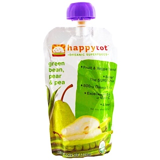 Nurture Inc. (Happy Baby), happytot, Organic Superfoods, Green Bean, Pear and Pea, 4.22 oz (120 g)