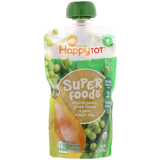 Happy Family Organics, Happytot, Superfoods, Organic Pears, Green Beans & Peas + Super Chia, 4.22 oz (120 g)