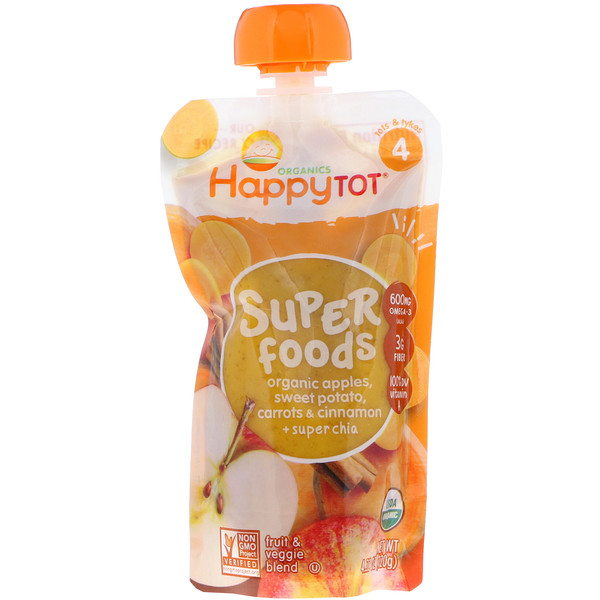 Happy Family Organics, Happytot, Superfoods, Organic Apples, Sweet Potato, Carrots & Cinnamon + Super Chia, 4.22 oz (120 g)