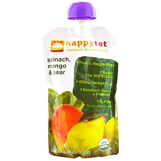 Nurture Inc. (Happy Baby), Happytot, Organic SuperFoods, Spinach, Mango & Pear, 4.22 oz (120 g)