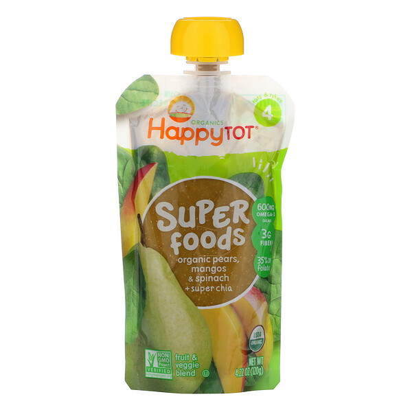 Happytot, SuperFoods, Organic Pears, Mangos & Spinach + Super Chia, 4.22 oz (120 g)