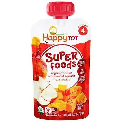 Nurture Inc. (Happy Baby) 有機超級食品,蘋果和胡桃南瓜+超級芡歐鼠尾草,4.22盎司(120克)