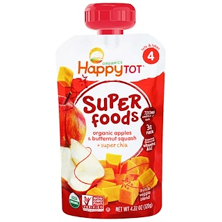 Happy Family Organics, Organic Superfoods, Apples & Butternut Squash + Super Chia, 4.22 oz (120 g)