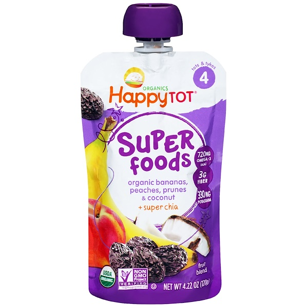 Nurture Inc. (Happy Baby), HappyTot, Organic SuperFoods, Bananas, Peaches, Prunes & Coconut + Superchia, 4.22 oz (120 g)