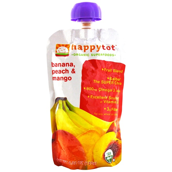 Nurture Inc. (Happy Baby), HappyTot Organic SuperFoods, фруктовый пакетик с бананом, персиком и манго, 4.22 унции (120 г)