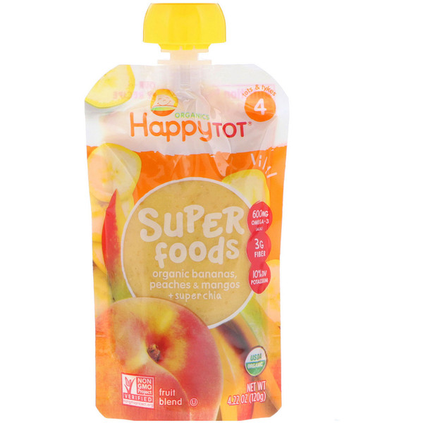 HappyTot, SuperFoods, Bananas, Peaches & Mangos + Super Chia, 4.22 oz (120 g)