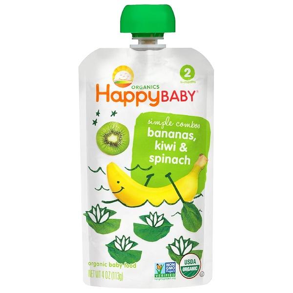 Nurture Inc. (Happy Baby), Organic Baby Food, Bananas, Kiwi & Spinach, Stage 2, 4 oz (113 g) (Discontinued Item)