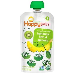 Нэйчэ Инк (Хэппи Бэби), Organic Baby Food, Bananas, Kiwi & Spinach, Stage 2, 4 oz (113 g) отзывы покупателей