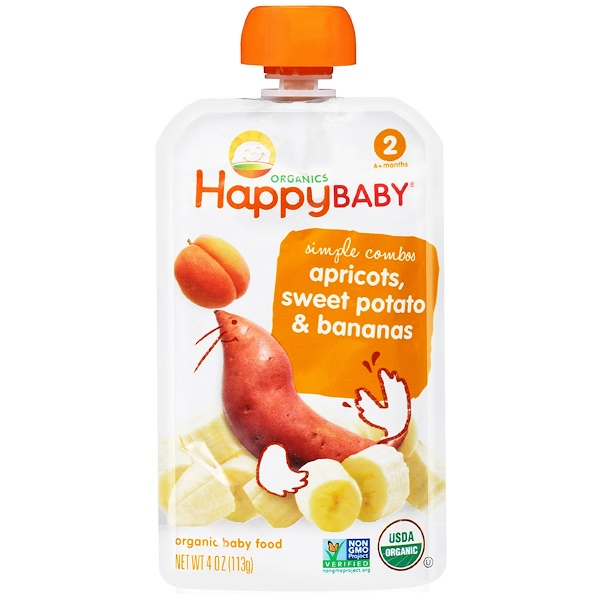 Happy Family Organics, Organic Baby Food, Stage 2, 6+ Months, Apricots, Sweet Potato & Bananas, 4 oz (113 g)