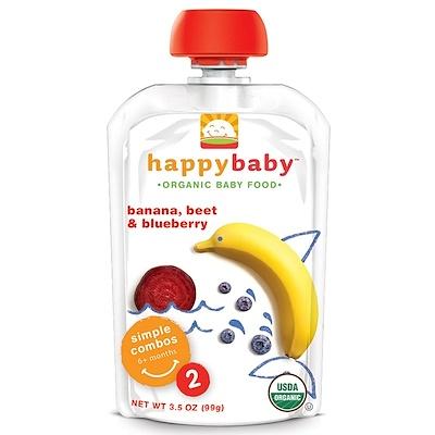 Nurture Inc. (Happy Baby) 有機嬰兒食品,香蕉,甜菜&藍莓,階段2,6個月以上,3.5盎司(99克)