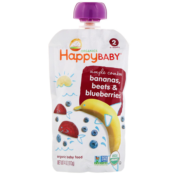 Happy Family Organics, Organic Baby Food,  Stage 2, 6+ Months, Banana, Beets & Blueberry, 4 oz (113 g) (Discontinued Item)
