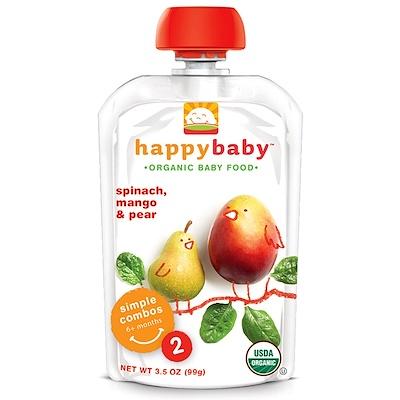 Nurture Inc. (Happy Baby) 有機嬰兒食品,階段2,6個月以上,菠菜,芒果&梨,3.5盎司(99克)