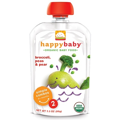 Nurture Inc. (Happy Baby) 有機嬰兒食品,花椰菜、豌豆、梨,2 段,6 個月以上嬰兒,3.5 盎司(99 克)