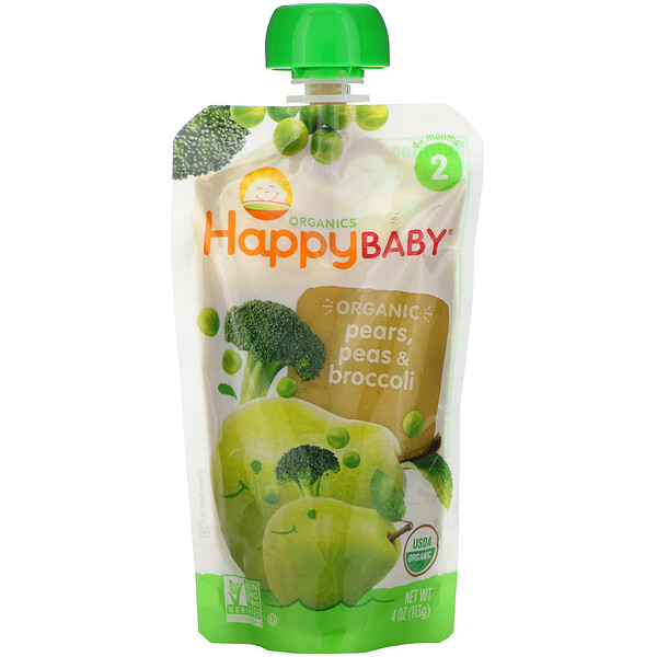 Happy Family Organics, Organics Happy Baby,  Stage 2,  6+ Months, Organic Pears, Peas & Broccoli, 4 oz (113 g)