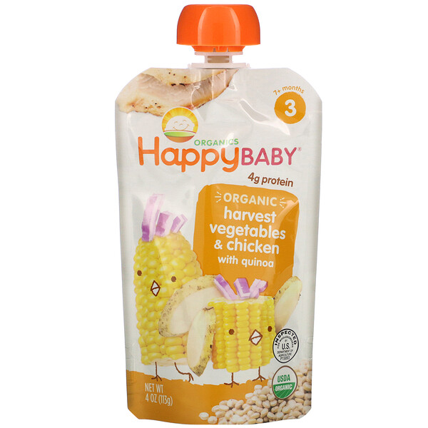 Happy Family Organics, Organic Baby Food, 7+ Months, Harvest Vegetables & Chicken with Quinoa, 4 oz (113 g)