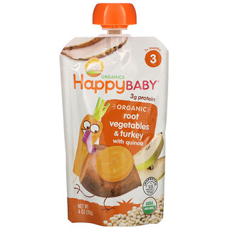 Happy Family Organics, Organic Baby Food, 7+ Months, Root Vegetables & Turkey with Quinoa, 4 oz (113 g)
