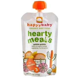 Nurture Inc. (Happy Baby), Organic Baby Food, Hearty Meals, Gobble Gobble, Stage 3, 4 oz (113 g)