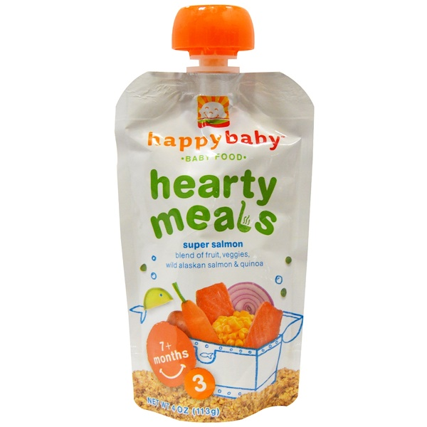 Nurture Inc. (Happy Baby), Baby Food, Hearty Meals, Super Salmon, Stage 3, 7+ Months, 4 oz (113 g) (Discontinued Item)