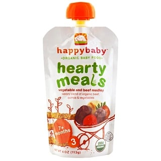 Nurture Inc. (Happy Baby), Organic Baby Food, Hearty Meals, Vegetable and Beef Medley, 7+ Months, Stage 3, 4 oz (113 g)