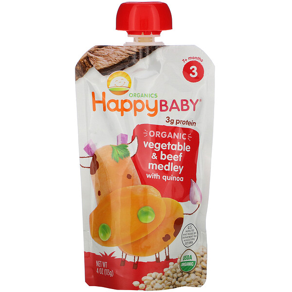 Happy Baby, Stage 3, Organic Vegetable & Beef Medley with Quinoa, 7+ Months, 4 oz (113 g)