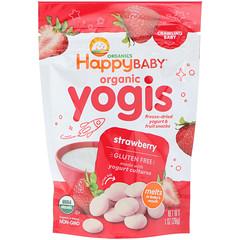 Happy Family Organics, Organic Yogis, Freeze Dried Yogurt & Fruit Snacks, Strawberry, 1 oz (28 g)