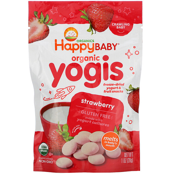 Organic Yogis, Freeze Dried Yogurt & Fruit Snacks, Strawberry, 1 oz (28 g)