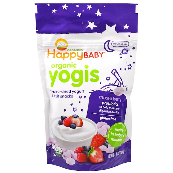 Nurture Inc. (Happy Baby), Organic Yogis, Freeze Dried Yogurt & Fruit Snacks, Mixed Berry, 1 oz (28 g)