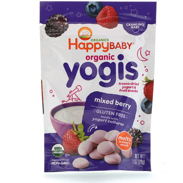 Happy Family Organics, Organic Yogis, Freeze Dried Yogurt & Fruit Snacks, Mixed Berry, 1 oz (28 g)