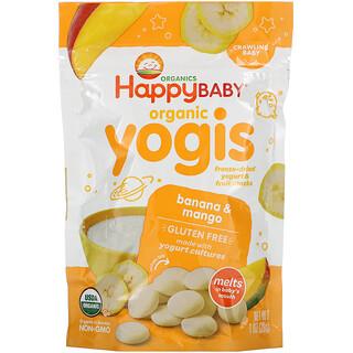 Happy Family Organics, Yogis Orgânicos, iogurte liofilizado e lanches de frutas, Banana e Manga, 28 g (1 oz)