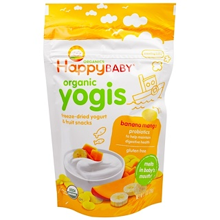 Happy Family Organics, Organic Yogis, Freeze Dried Yogurt & Fruit Snacks, Banana Mango, 1 oz (28 g)