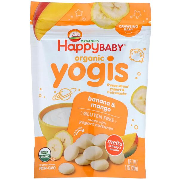 Organic Yogis, Freeze Dried Yogurt & Fruit Snacks, Banana & Mango, 1 oz (28 g)