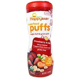 Happy Family Organics, Organics Superfood Puffs, Strawberry & Beet, 2.1 oz (60 g)