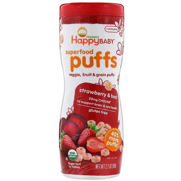Happy Family Organics, Superfood Puffs  Veggie, Fruit & Grain,  Strawberry & Beet, 2.1 oz (60 g)