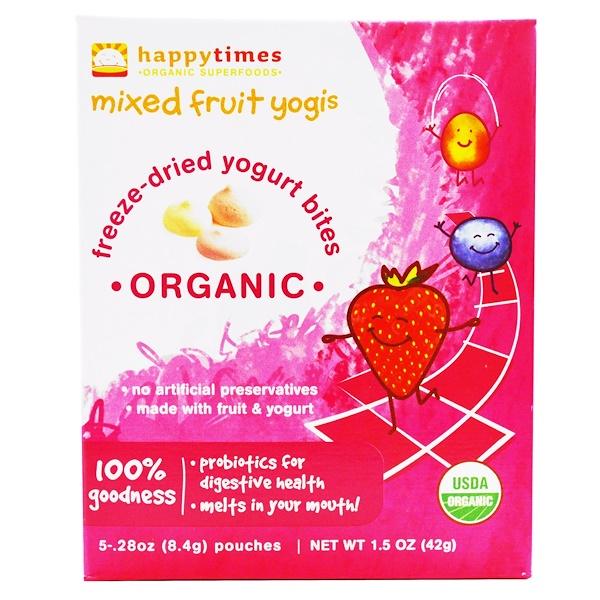 Happy Family Organics, happytimes, Organic Freeze-Dried Yogurt Bites, Mixed Fruit Yogis, 5 Pouches, 28 oz (8.4 g)  Each (Discontinued Item)