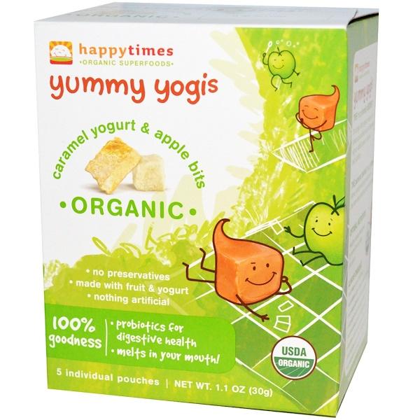 Happy Family Organics, happytimes, Yummy Yogis, Organic Caramel Yogurt & Apple Bits, 5 Pouches, 1.1 oz (30 g) (Discontinued Item)