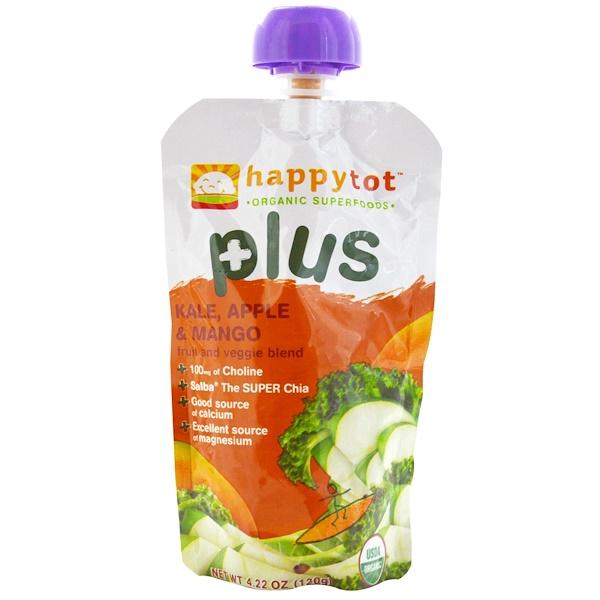 Happy Family Organics, Happytot, Fruit and Veggie Blend, Plus, Kale, Apple & Mango, 4.22 oz (120 g) (Discontinued Item)