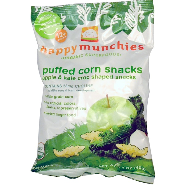 Nurture Inc. (Happy Baby), happpymunchies™, Puffed Corn Snacks, Apple & Kale Croc Shaped Snacks, 1.4 oz (40 g) (Discontinued Item)