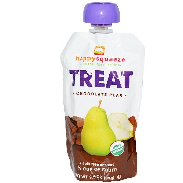 Nurture Inc. (Happy Baby), Happysqueeze, Organic Superfoods, Treat, Chocolate Pear, 3.5 oz (99 g) (Discontinued Item)