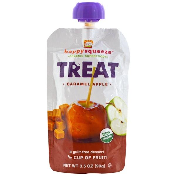 Nurture Inc. (Happy Baby), Happysqueeze, Organic Superfoods, Treat, Caramel Apple, 3.5 oz (99 g) (Discontinued Item)