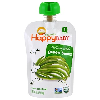 Nurture Inc. (Happy Baby), Organic Baby Food, Green Beans, Stage 1, 3.5 oz (99 g)