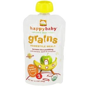 Нэйчэ Инк (Хэппи Бэби), Organic Baby Food, Grains, Homestyle Meals, Brown Rice Pudding with Banana, Apple & Cinnamon, 3.5 oz (99 g) отзывы