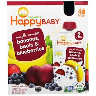 Nurture Inc. (Happy Baby), Organic Baby Food, Stage 2, Simple Combos, Bananas, Beets & Blueberries, 4 Pouches - 4 oz (113 g) Each