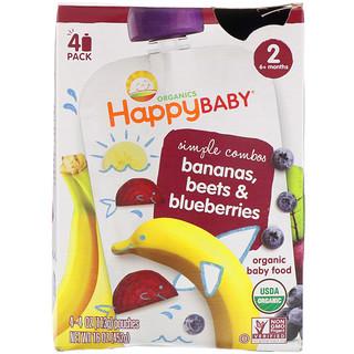 Happy Family Organics, Органическое детское питание с бананом, свеклой и черникой, 4 пакета по 4 унции (113 г)