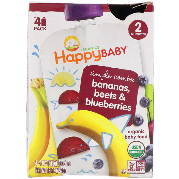 Happy Family Organics, Organic Baby Food, Stage 2, Simple Combos, Bananas, Beets & Blueberries, 4 Pouches - 4 oz (113 g) Each (Discontinued Item)