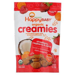Happy Family Organics, Organic Creamies, Freeze-Dried Veggie, Fruit & Coconut Milk Snacks, Strawberry, Raspberry & Carrot, 1 oz (28 g)