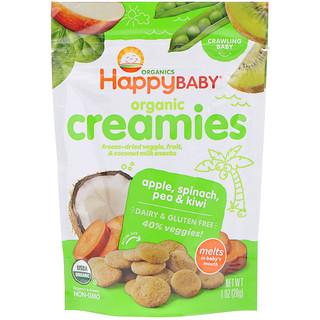 Happy Family Organics, Organic Creamies, Freeze-Dried Veggie, Fruit & Coconut Milk Snacks, Apple, Spinach, Pea & Kiwi, 1 oz (28 g)