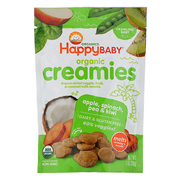 Organic Creamies, Freeze-Dried Veggie, Fruit & Coconut Milk Snacks, Apple, Spinach, Pea & Kiwi, 1 oz (28 g)