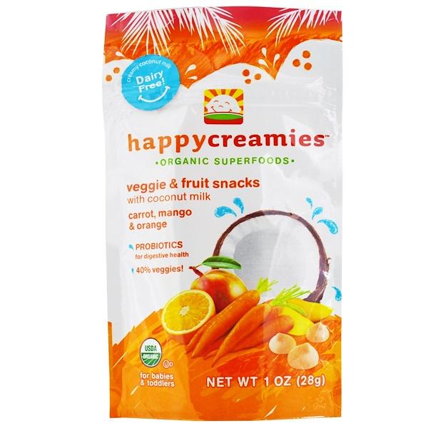 Happy Family Organics, happycreamies, Veggie & Fruit Snacks, Carrot, Mango & Orange, 1 oz (28 g) (Discontinued Item)